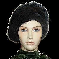 Женская шапка  из меха норки черная