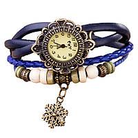 """Модные винтажные женские часы-браслет с подвеской """"Снежинка"""" , синие"""