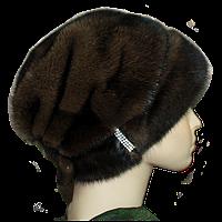 Норковая  шапка женская коричневая