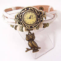"""Модные винтажные женские часы-браслет с подвеской """"Сова"""" ,белые"""