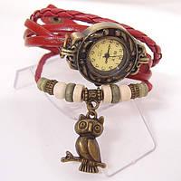 """Модные винтажные женские часы-браслет с подвеской """"Сова"""" , красные"""