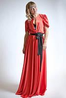 Платье в пол из стрейч-атласа с поясом