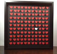 Картина пожеланий (Размер рамки 50х50 см, 100 сердечек)