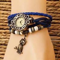 """Модные винтажные женские часы-браслет с подвеской """"Сова"""" ,синие"""