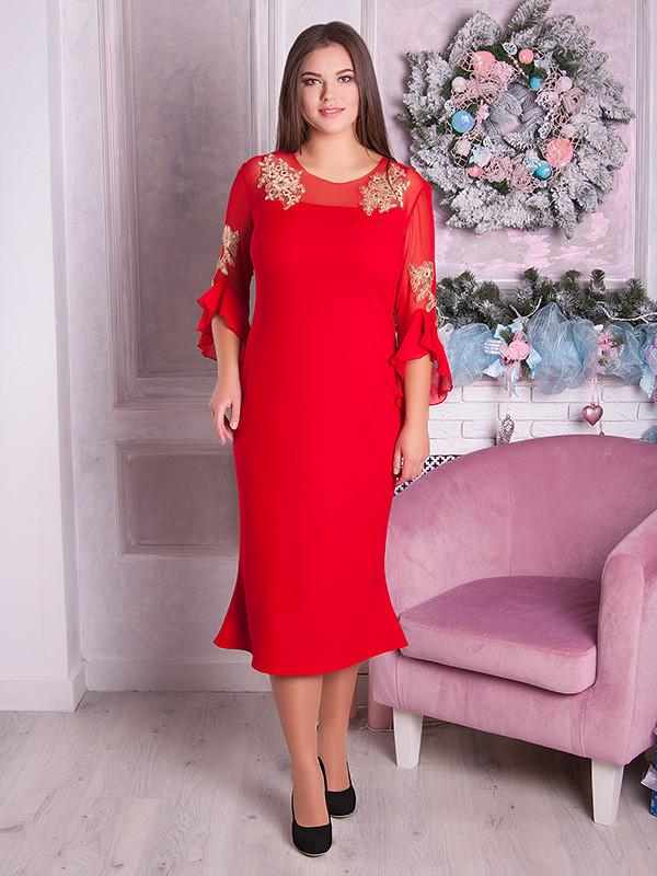 Сукня вечірня червоного кольору батал для повних жінок