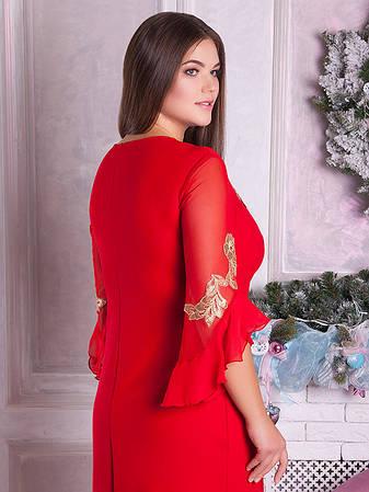 Сукня вечірня червоного кольору батал для повних жінок, фото 2