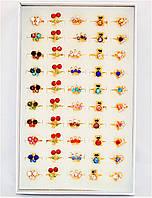 Детские колечки с цветными камнями