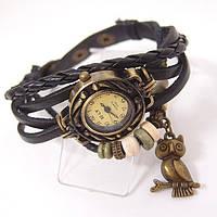 """Модные винтажные женские часы-браслет с подвеской """"Сова"""" , черные"""