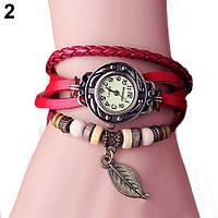 """Модные винтажные женские часы-браслет с подвеской """"Лепесток"""" , красные"""