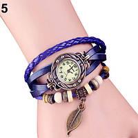 """Модные винтажные женские часы-браслет с подвеской """"Лепесток"""" , синие"""