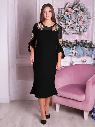 Вечірнє гарне плаття великих розмірів чорне, фото 2