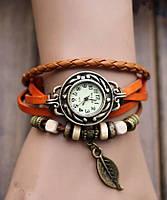 """Модные винтажные женские часы-браслет с подвеской """"Лепесток"""" , оранжевые"""