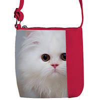 Малиновая детская сумка для девочки с принтом Кошка