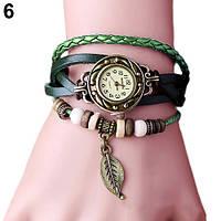 """Модные винтажные женские часы-браслет с подвеской """"Лепесток"""" , зеленые"""