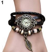 """Модные винтажные женские часы-браслет с подвеской """"Лепесток"""" , черные"""
