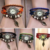 """Модные винтажные женские часы-браслет с подвеской """"Лепесток"""" , 5 цветов"""