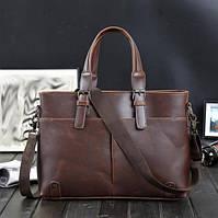 Мужская сумка-портфель. Размер 40-28,5-6 см.Коричневая.