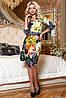 Трикотажное приталенное  платье с принтом 44-50 размера