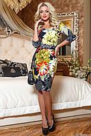 Трикотажное приталенное  платье с принтом 44-50 размера, фото 1