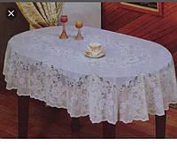 Кухонная скатерть ажурный винил овальная