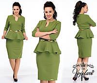 Батальное деловое платье с баской