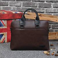 Стильная мужская сумка-портфель из PU кожи. Коричневая.
