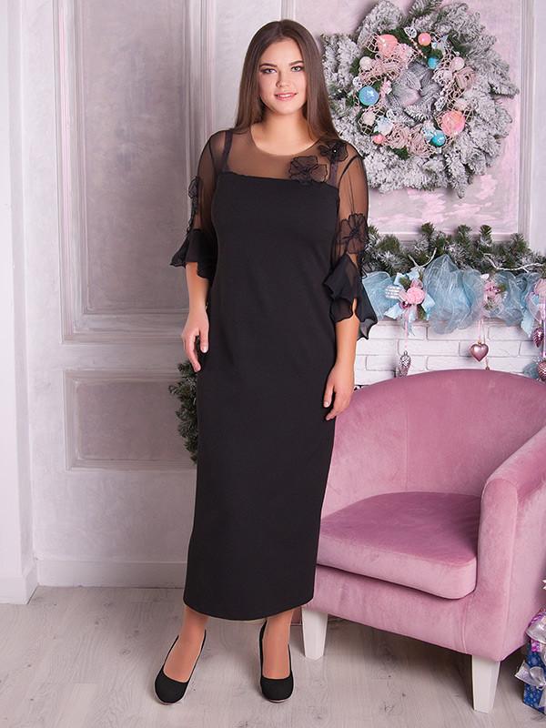Вечернее нарядное платье батал ниже колена черное