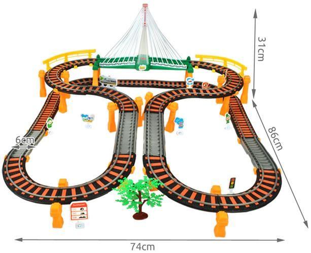 Детский автотрек +детская железная дорога 2в1.