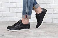 Кеды слипоны кожаные черные Ecco на шнуровке и молнии, Черный, 39