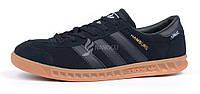 Кроссовки мужские Adidas Hamburg Gore-Tex Dark Blue замшевые темно-синие, Синий, 42