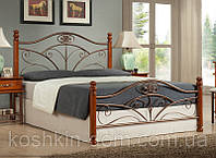 """Кровать двухспальная """"Бавария"""" из натурального дерева и металла"""