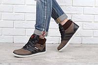 Ботинки кожаные Monster racer коричневые на шнуровке Украина, Коричневый, 32