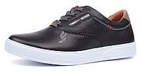 Кеды слипоны мужские кожаные Tommy Hilfiger черные на шнуровке, Черный, 45