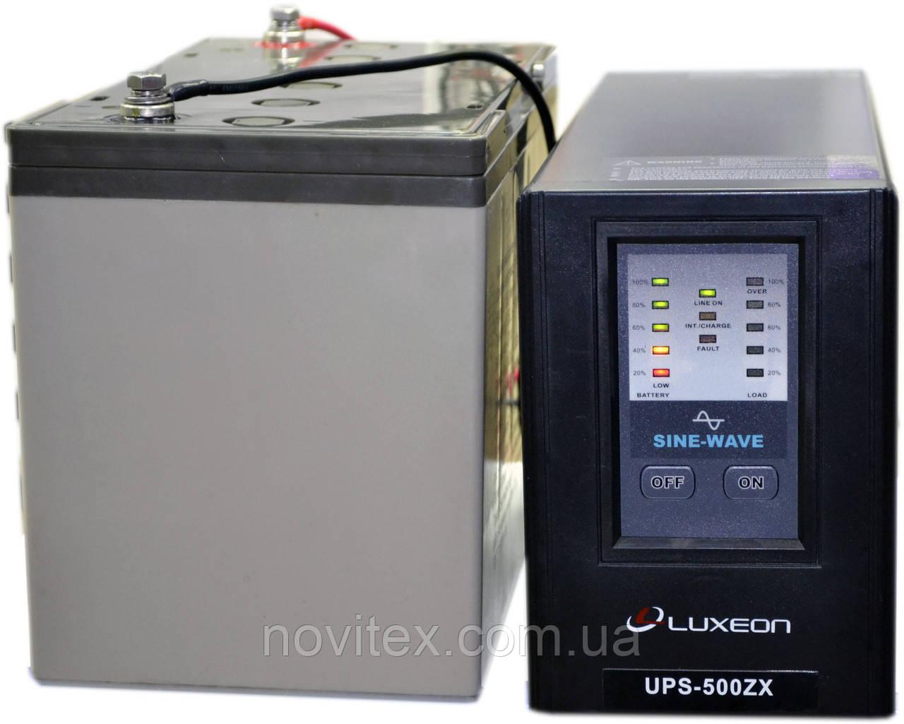 Комплект резервного питания ИБП Luxeon UPS-500ZX + АКБ Vimar BG110-12 110Ah для 8-13ч работы газового котла