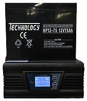 Комплект резервного питания ИБП Luxeon UPS-1000ZD + АКБ TECHNOLOGY NP12-75Ah для 6-9ч работы газового котла