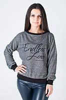 Модная женская трикотажная кофточка серого цвета