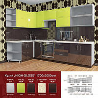 Кутова кухня High Gloss 1700х3000 мм