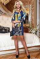 Стройнящее трикотажное платье с принтом 44-50 размера, фото 1