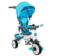 Детский велосипед трехколесный с родительской ручкой голубого цвета