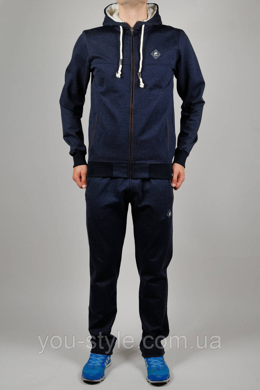 Зимний мужской спортивный костюм Nike 3222 Тёмно-синий