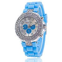 Модные стильные женские часы Geneva Cristall ,голубые,силиконовый ремешок