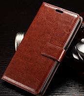 Кожаный чехол книжка для LG Leon H340N H320 H324 коричневый