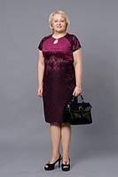 Платье нарядное из замши и гипюра Джина М248
