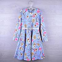 """Платье нарядное детское """"Сакура"""". 6-10 лет. Голубое. Оптом."""