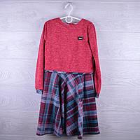 """Нарядное подростковое платье """"Classic"""". 8-11 лет. Красное+клетка. Оптом."""