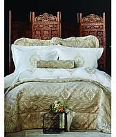 Постельное белье Karaca Home перкаль Astoria beige с вышивкой евро размера