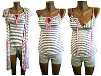 Комплект домашний женский, пижама с халатом, р.р.42-56