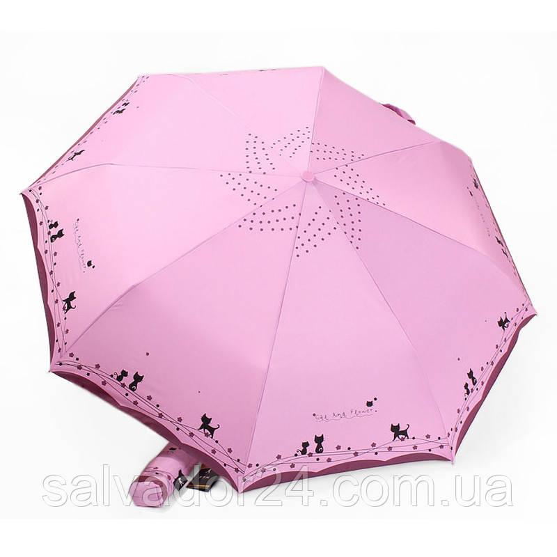 Зонт складной, automatic, Cat and Flower