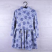 """Детское нарядное платье """"Букет"""". 3-7 лет. Серое. Оптом."""