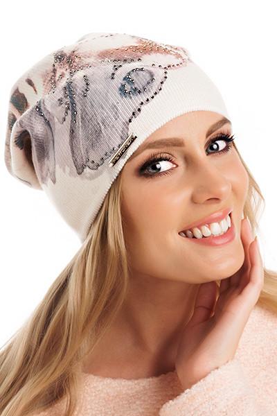 Красивая двойная вязаная женская шапка Edith Pawonex Польша.